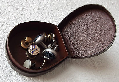 Vintage stud box English horseshoe-shape Traditional motto & picture BROWN